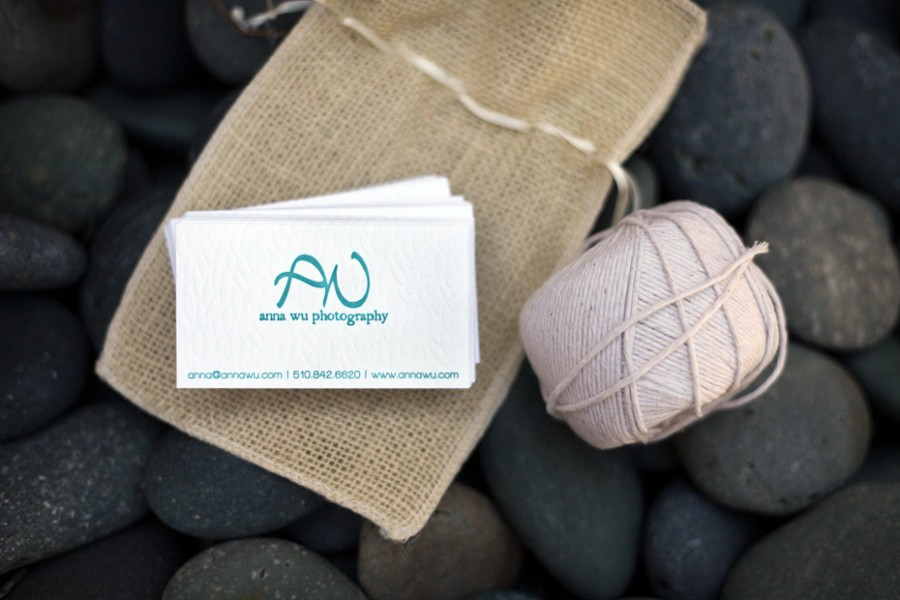 twine burlap letterpress business card blind deboss anna wu photography aqua teal turquoise blue