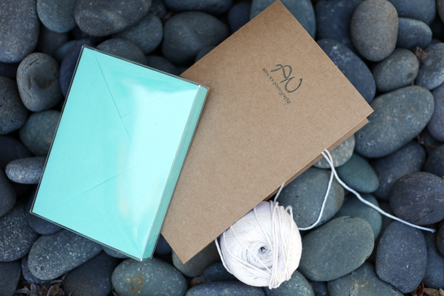 kraft twine aqua teal Photographer Collateral Branding Packaging Anna Wu Photography