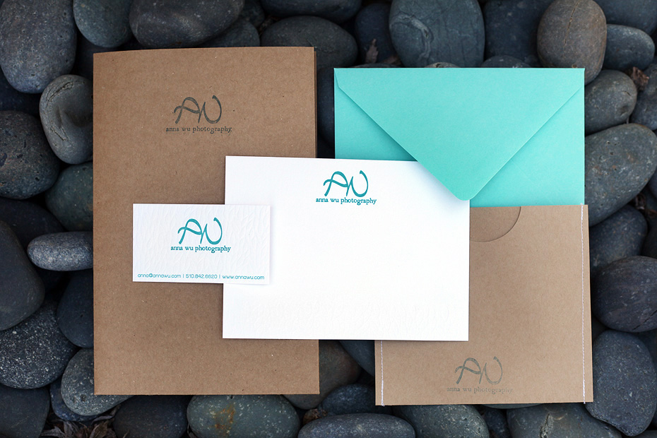 kraft white turquoise teal blue aqua letterpress branding collateral photographer