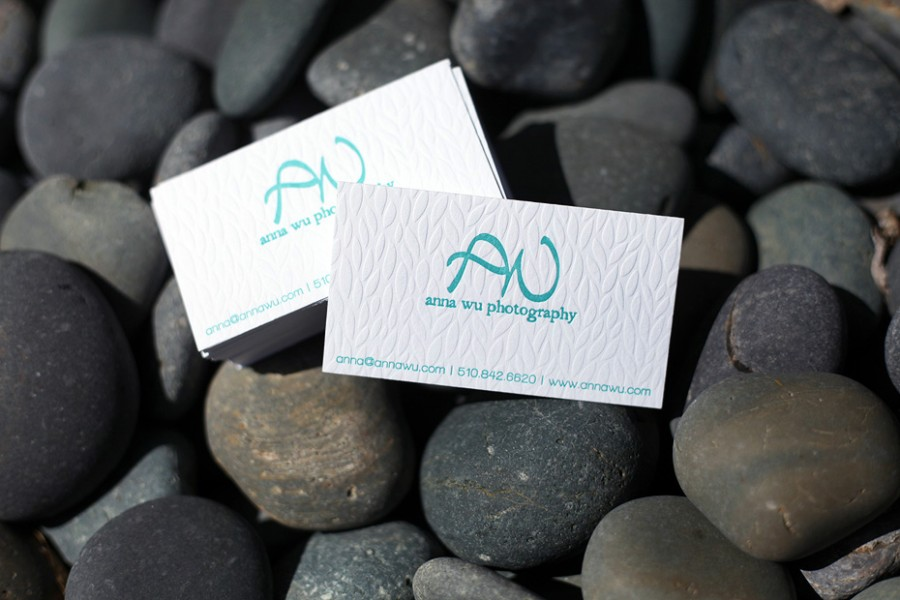 letterpress business cards blind deboss turquoise blue photographer logo branding
