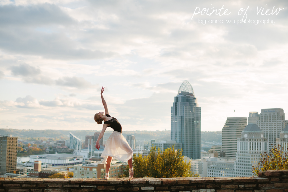 Over the Queen City | Cincinnati, Ohio | Pointe of View ballerina series by Anna Wu Photography