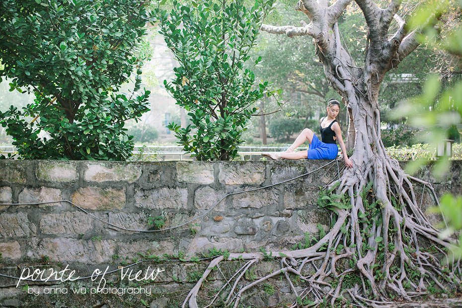 ballerina with tree roots in Beitou, Taipei, Taiwan | Pointe of View Ballerina Series by Anna Wu Photography