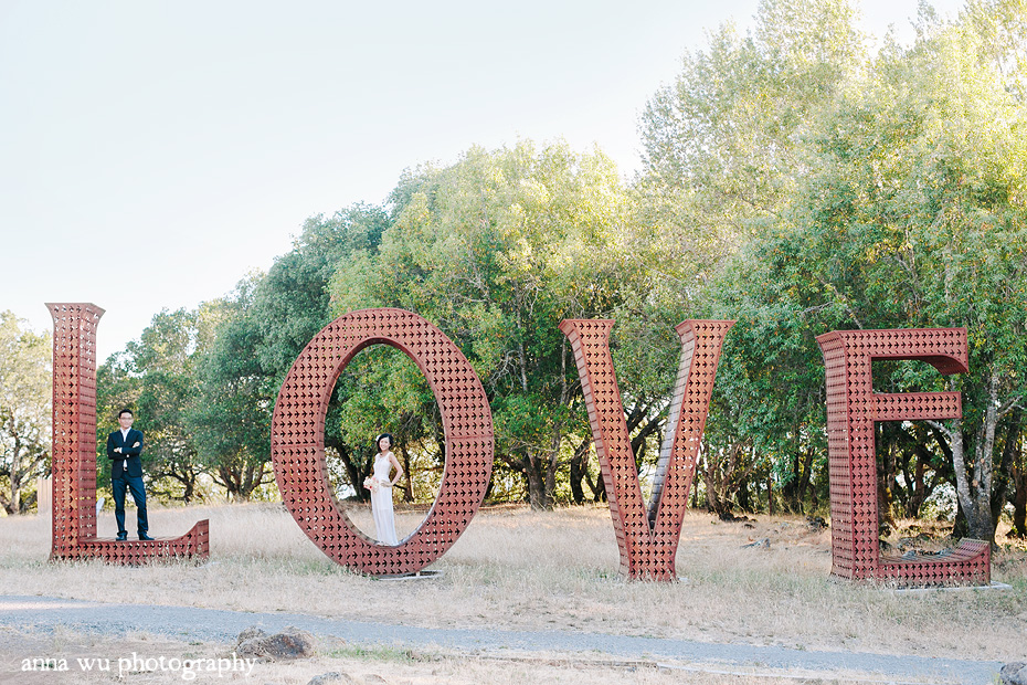 LOVE sculpture | Agnes & Zhihong | Sonoma Wine Country Engagement Photography | az_3299