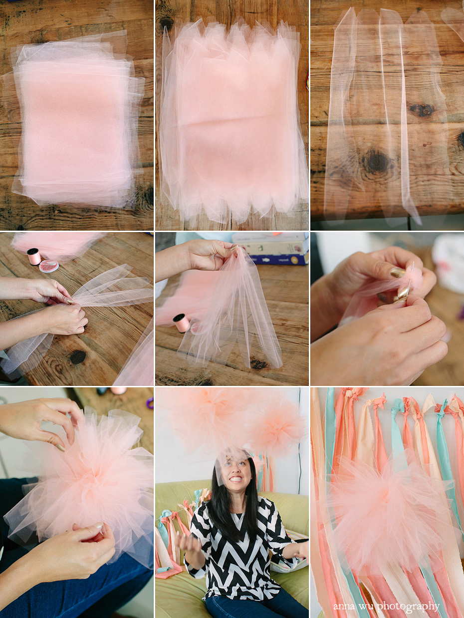 How to make a fabric backdrop - Diy Tulle Pom Poms Party Planning