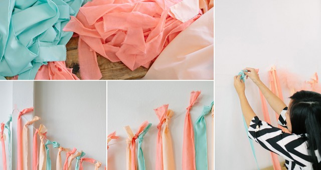 DIY Fabric Ribbon Backdrop | Party Planning