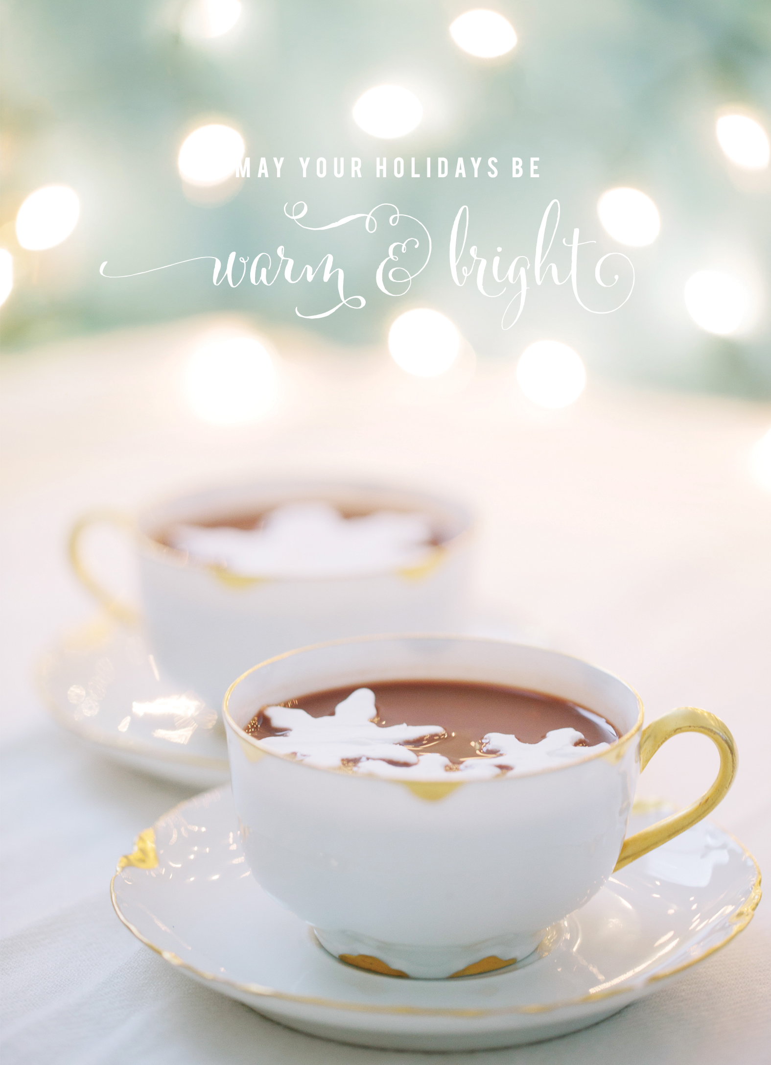 Happy Holidays from Anna Wu Photography | Hot chocolate with snowflake marshmallows | graphic design by Akula Kreative