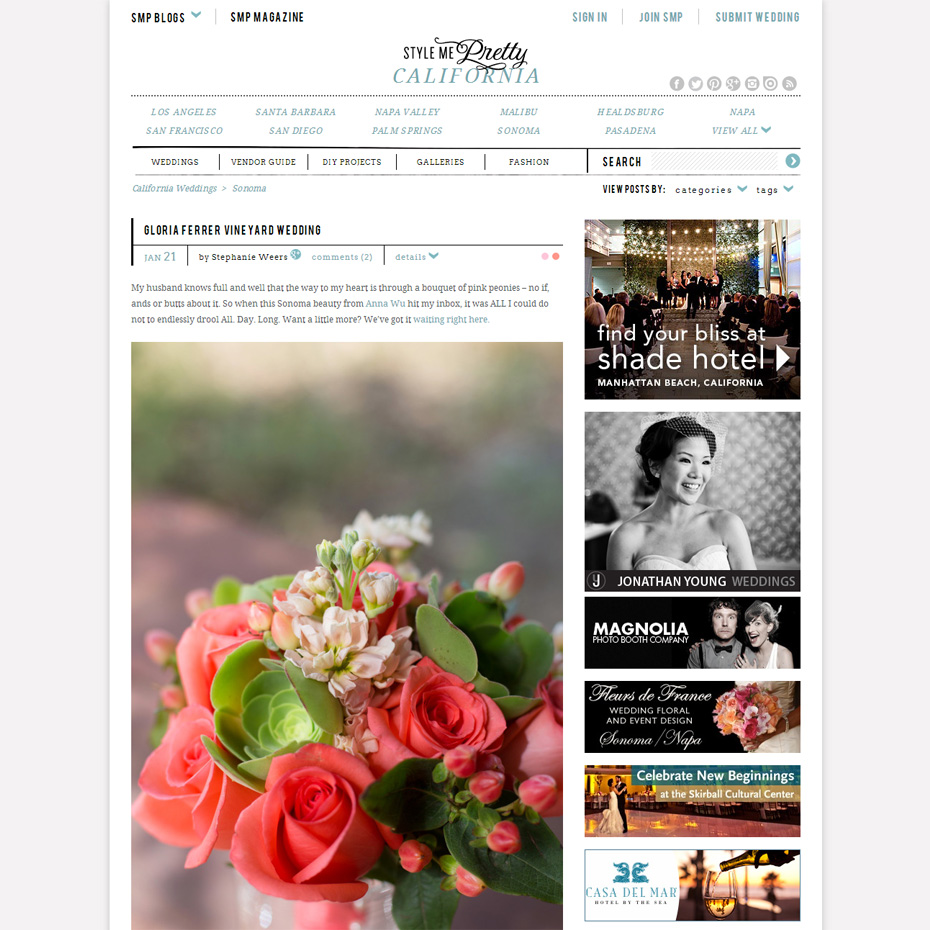 Anna Wu Photography featured on Style Me Pretty- Amy & David