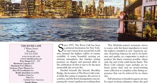 The River Cafe | Published in Sophisticated Weddings New York Edition