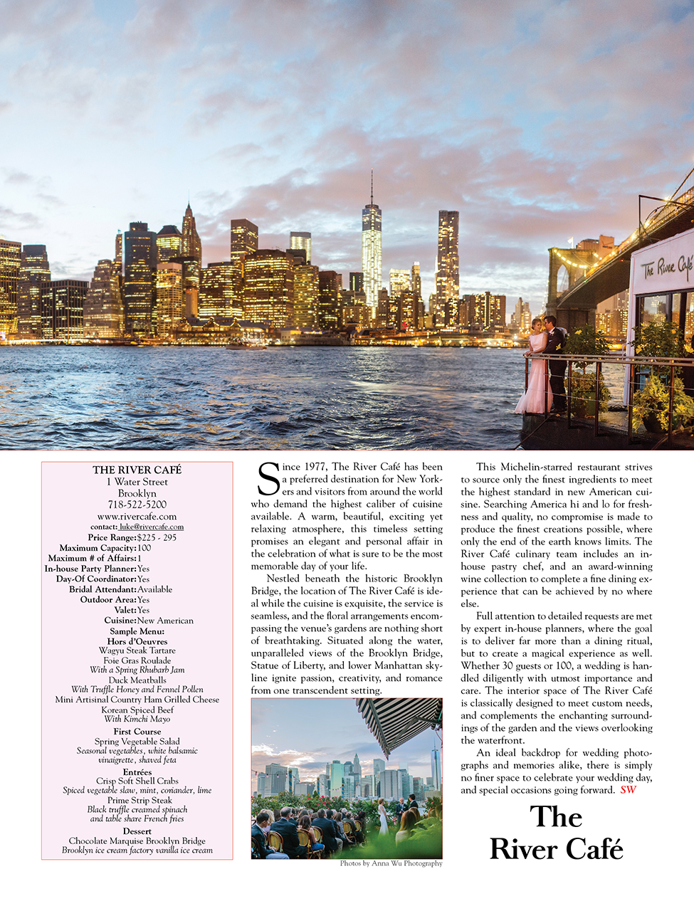 Anna Wu Photography published in Sophisticated Weddings New York- Jen & Clay Cover