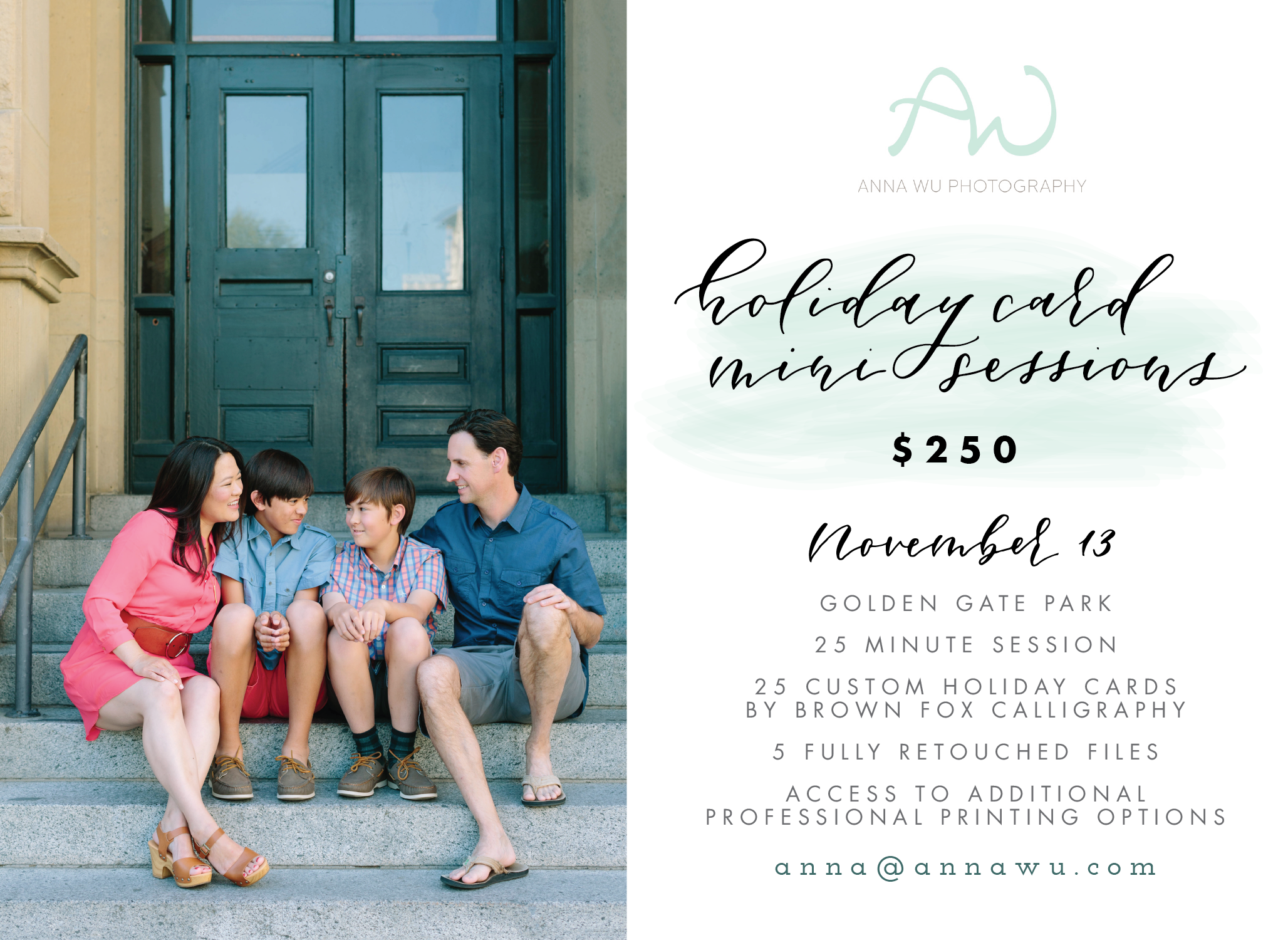 San Francisco Holiday Card Mini Sessions 2016 | Anna Wu Photography & Brown Fox Calligraphy
