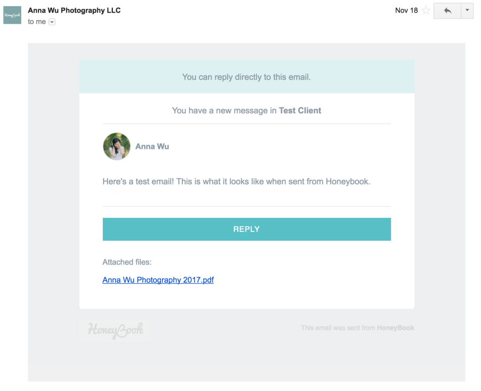 Honeybook brands your emails
