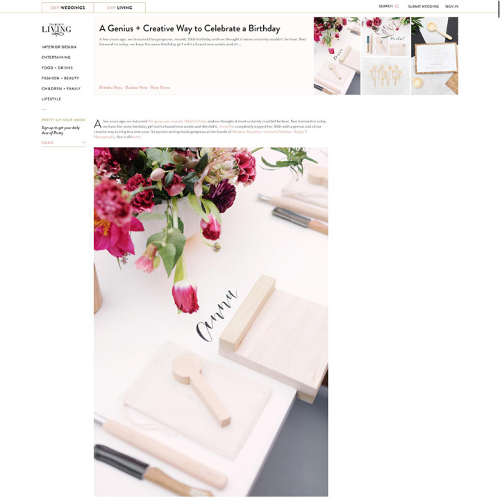My Spoon Carving Birthday, Featured on Style Me Pretty
