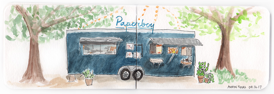 Paperboy Food Truck Austin, TX watercolor illustration