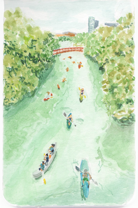 Zilker Park, Austin, Texas Watercolor Illustration by Anna Wu
