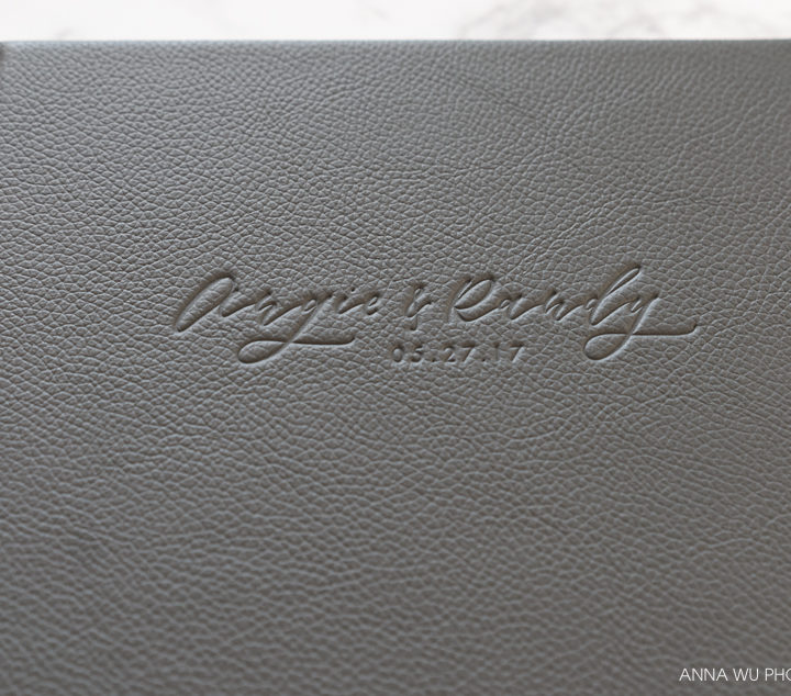 Angie & Randy | Dark Grey Leather Wedding Album With Custom Calligraphy